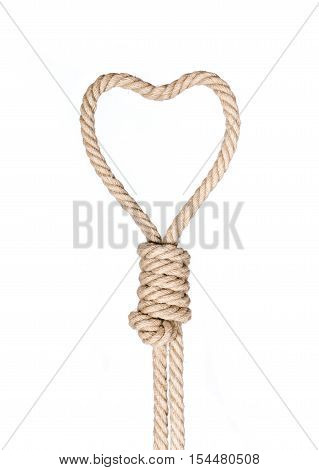 Hangman's noose in heart shape isolated on a white background, a symbol of death or love.