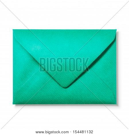 Green envelope isolated on white background. Single object with clipping path. Top view flat lay
