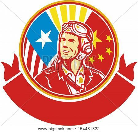 Illustration of a world war two pilot airman aviator smiling looking to the side with USA and China flags in the background in the background set inside circle done in retro style.