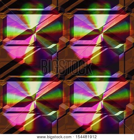 Seamless 3d pattern of pyramidal blocks with spectral rays. Brown background with rainbow pattern