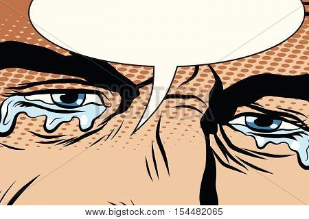 Retro man cries, tears in the eyes, pop art comic book vector illustration