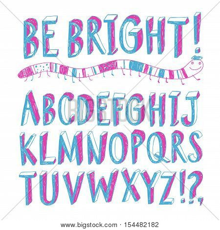 Hand drawn decorative sketchy vector ABC letters.Felt-tip style. Nice childish font for your design.