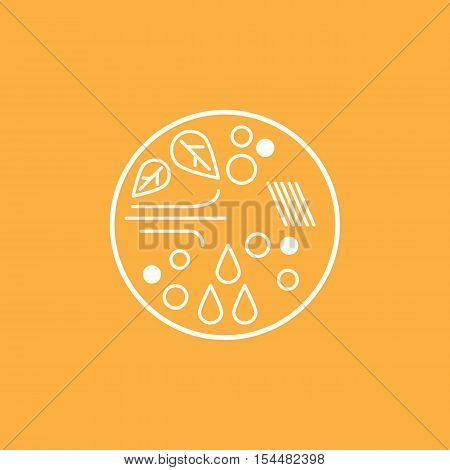 The emblem or logo of the autumn weather. Vector illustration.
