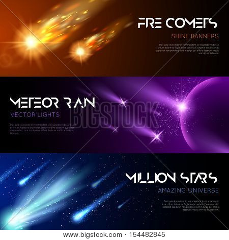Space horizontal banners with shiny light effects falling meteors comets stars vector illustration