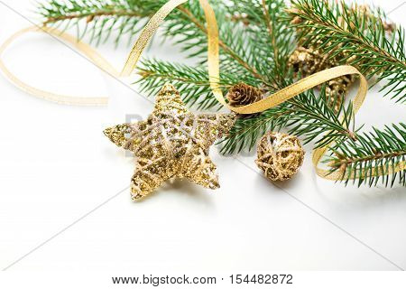 Christmas background. New year. 2017. tree, gold, cones, ornaments. White space place