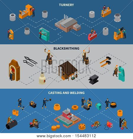 Metalworking processes 3 isometric flowchart infographic elements banners set with blacksmith casting and welding isolated vector illustration