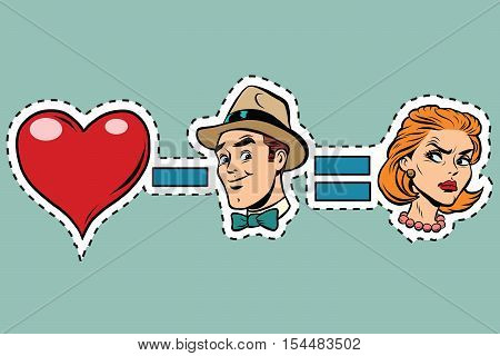 Broken heart minus man equals angry woman, pop art retro comic book vector illustration. Humorous concept ruined love. Sticker label