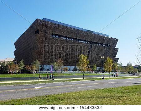 Washington DC, USA - October 16, 2016 - West side view of the Smithsonian National Museum of African American History and Culture (NMAAHC) that opened on September 24, 2016.
