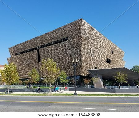 Washington DC, USA - October 16, 2016 - Main entry canopy view of the Smithsonian National Museum of African American History and Culture (NMAAHC) that opened on September 24, 2016.