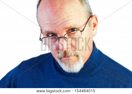Bald man with glasses Wearing Blue Sweater
