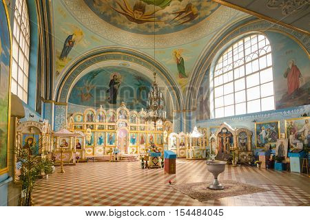Duboviy Ovrag, Russia - February 20, 2016: Interior Of The Church Of The Holy Martyr Nikita. Volgogr