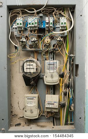 Volgograd, Russia - October 10, 2016: Electrical Panels With Electricity Meters, Installed On The Fl