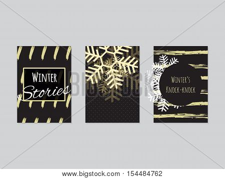 Set of winter flyer templates, snowflakes, text, grunge brushes. Posters, banners winter Christmas collection, vector. Invitations, banners, templates. Winter Christmas flyers collection. Grunge brush background. Black, gold combination.