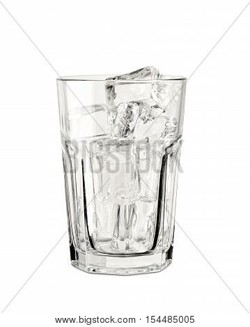 picture in the transparent glass cup studio with ice on white background