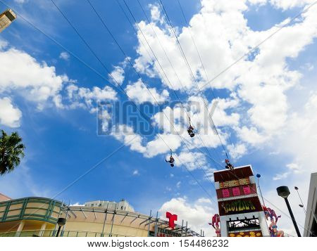 Las Vegas United States of America - May 07 2016: The people at the SlotZilla zip line attraction at the Fremont Street Experience at Las Vegas USA