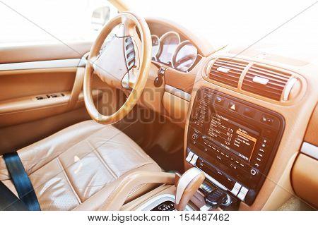 Steering Wheel Of Luxury Car