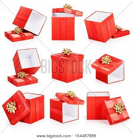 Red gift boxes with gold ribbon bow collection isolated on white background. Christmas themes