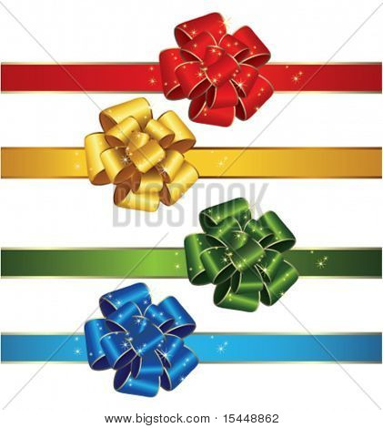 Set of gift bows and ribbons
