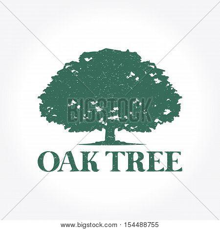 Retro Green Oak Tree Logo, Vector illustration Design