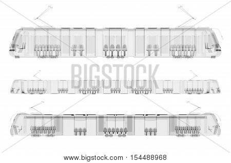 Set of x-ray trams isolated. Radiography illustration 3d render