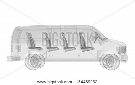 X-ray bus isolated. Radiography illustration 3d render