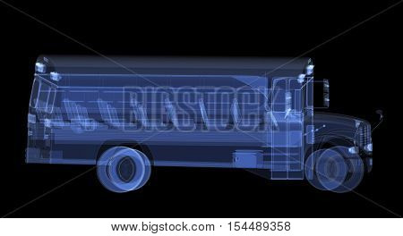 X-ray school bus isolated on black. Radiography illustration 3d render