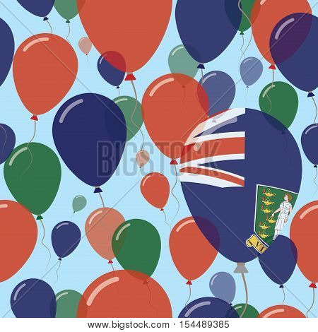 Virgin Islands, British National Day Flat Seamless Pattern. Flying Celebration Balloons In Colors Of