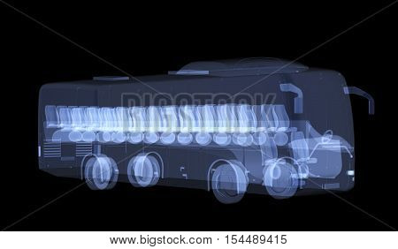 X-ray bus isolated on black. Radiography illustration 3d render