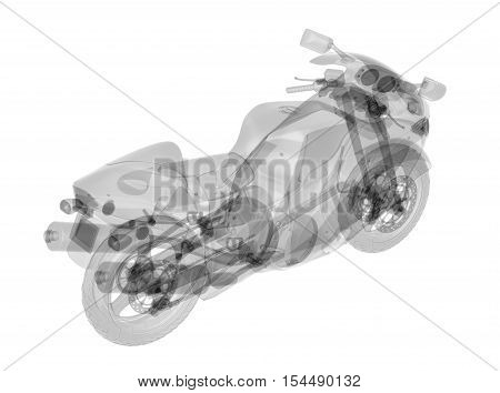 X-ray motorbike isolated. Radiography illustration 3d render