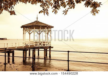 Pier At Lake Constance, Sepia Toned