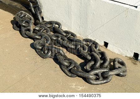 Heavy metal chain painted with black paint.