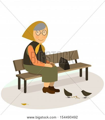 CIS grandmother elderly old woman sitting on a bench feeding pigeons with bread crumbs in the park Vector flat illustration isolated on white background CIS wear style. poster