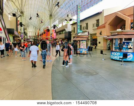 Las Vegas United States of America - May 07 2016: The people walking at Fremont Street at day at Las Vegas United States of America