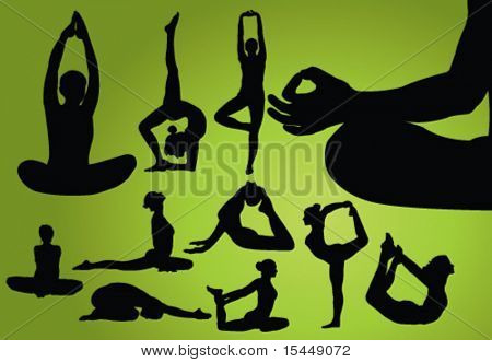 Different Yoga pose. Vector Illustration poster