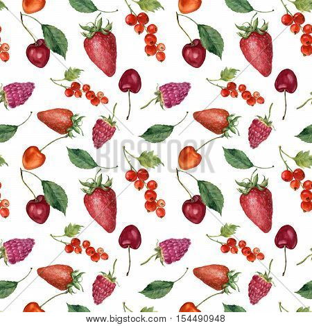 Summer berries and fruit watercolor seamless pattern. Watercolor strawberry, cherry, redcurrant, raspberry and leaves isolated on white background. For design, textile and background.