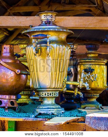 samovar.  Vintage metal samovar . housewares decorative