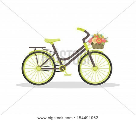 Beautiful flat rustic bicycle with flowers in basket. Floral vintage journey concept. Good for cards greeting invitation wedding note book cover decoration. Vector illustration isolated on white.