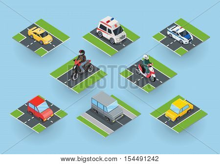Public transportation. Traffic items collection on the road. Car motorbike ambulance taxi moped police car. City service transport icons. Part of series of city isometric. Vector illustration