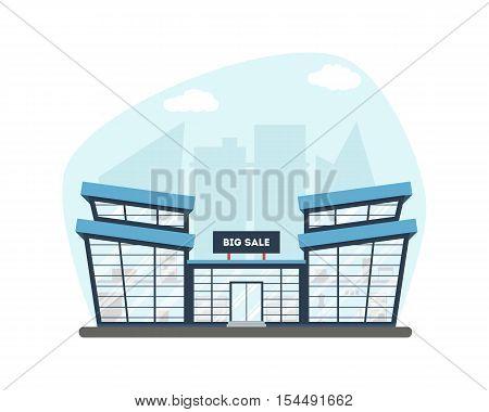 Flat Supermarket On City Background