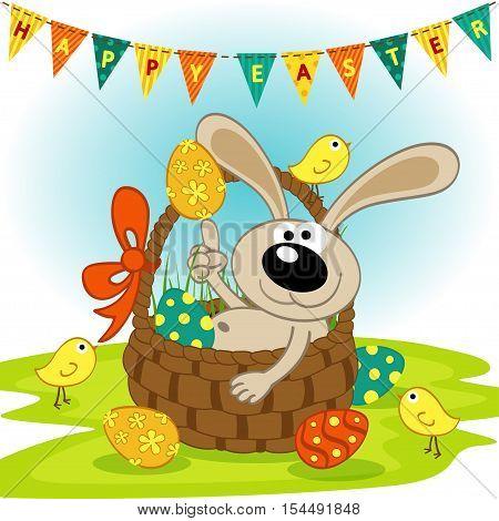 easter bunny in basket - vector illustration, eps