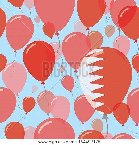Bahrain National Day Flat Seamless Pattern. Flying Celebration Balloons In Colors Of Bahraini Flag.