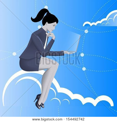 Cloud business concept. Pensive business woman in business suit with laptop in her hand sitting on the cloud and watching on the glowing laptop screen. Business in web thinking planning concept