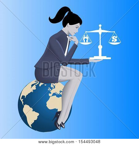 Work life balance business concept. Pensive business woman in business suit sitting on the globe and holding scales with family symbol on left plate and dollar symbol on right plate.