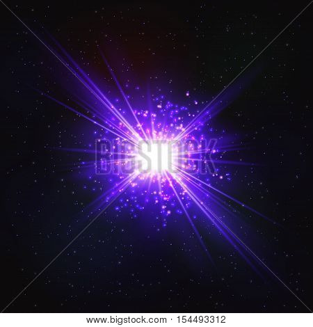 Abstract Shimmering Cosmic Flash Star. Effect of scattering Particles.
