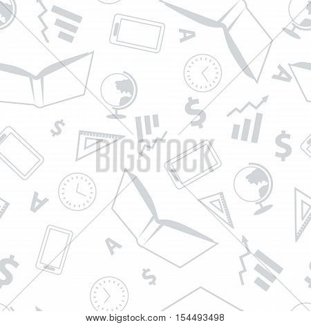 School seamless pattern with book, clock, ruler, globe, letter, tablet on white background. School background with different elements. Vector outline seamless pattern. Vector illustration in flat.