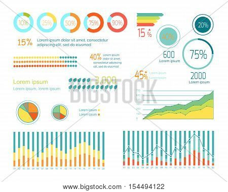 Set of elements for wind infographics. Graphs and Charts show weather changing. Weather forecast concept. Strength of wind, tornado, hurricane. For website and mobile app designs. Vector illustration