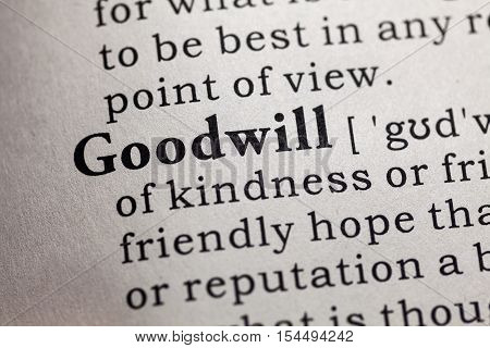 Fake Dictionary Dictionary definition of the word goodwill.