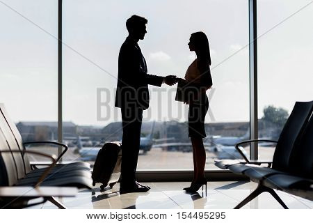 Confident businesswoman is meeting client at airport. They are standing and shaking hands