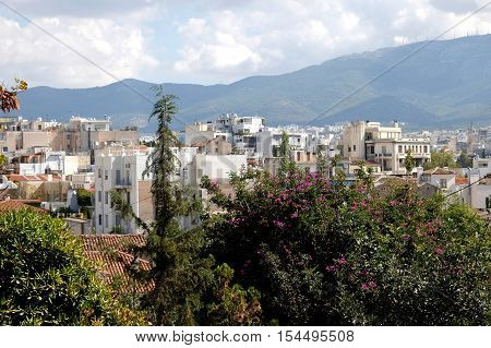 a view of the residential area of the city of Athens in Greece