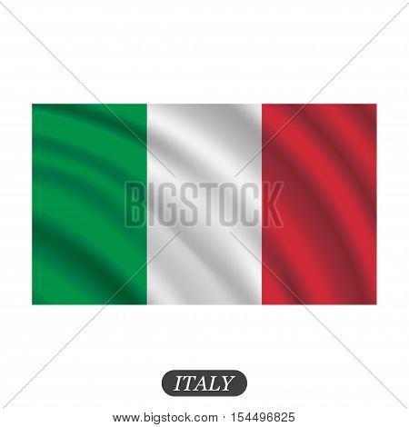 Waving Italy flag on a white background. Vector illustration